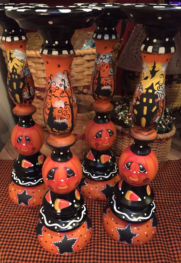 halloween candle holders designed and hand painted by lisa stuckey - Halloween Fall Decorations