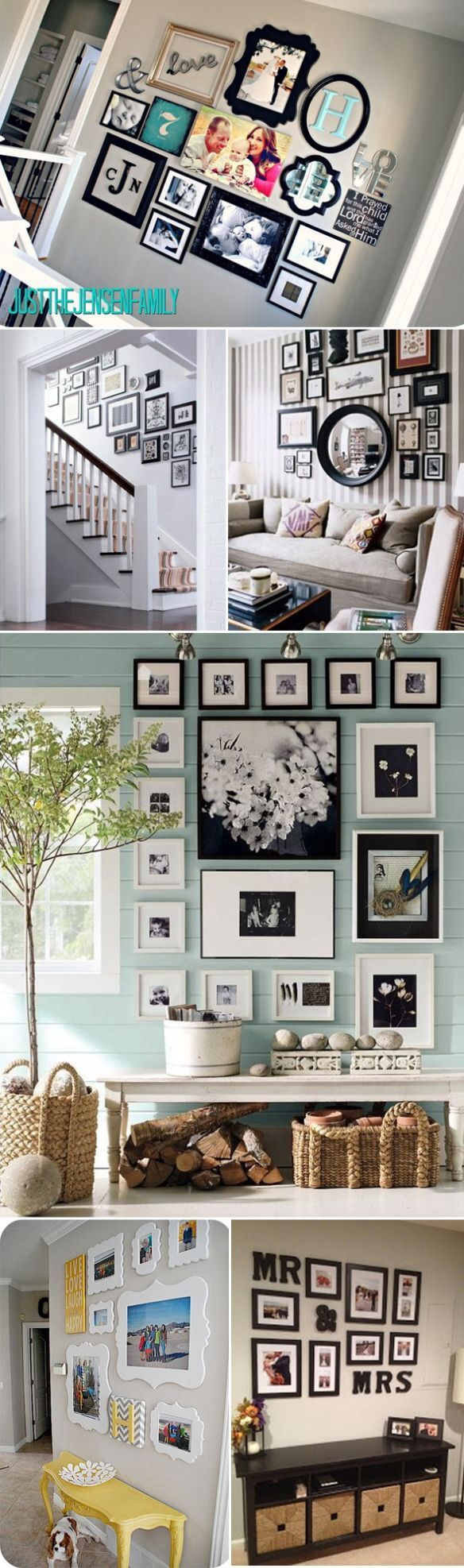 Picture organization. Love the yellow painted table for entryway too.