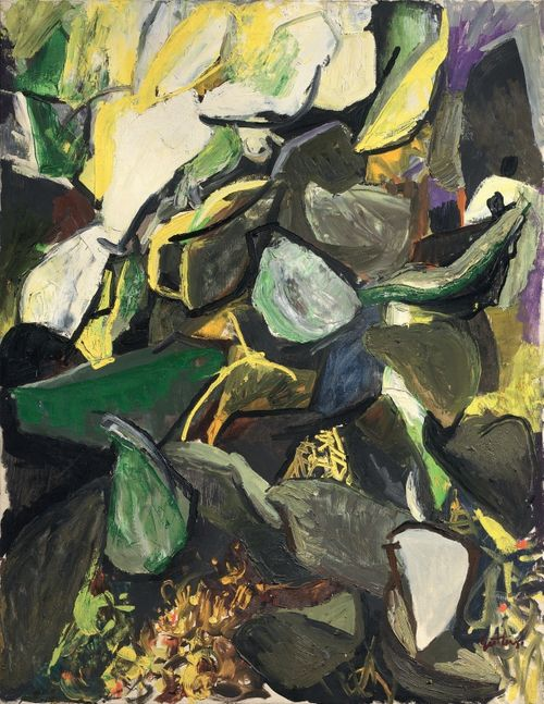 Renato Guttuso (Italian, 1912-1987), Fichidindia (Cactus in giallo) or Prickly pear (cactus in yellow), 1962. Oil on canvas, 116 x 89 cm.
