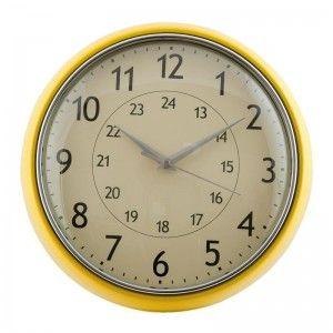 Żółty okrągły zegar Clayre