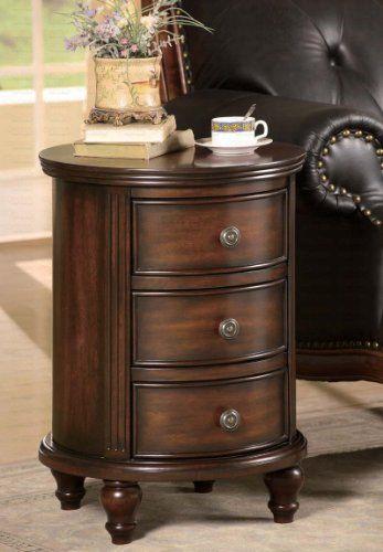 Coaster 900363 Round Cabinet Dark Walnut Antique