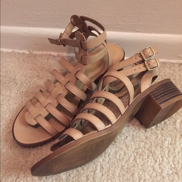 ***SOLD*** Beige sandals straps. Egyptian style SOLD Beige heel sandals with buckle, super cute, wore one time, brand new condition, size 9 Shoes Sandals