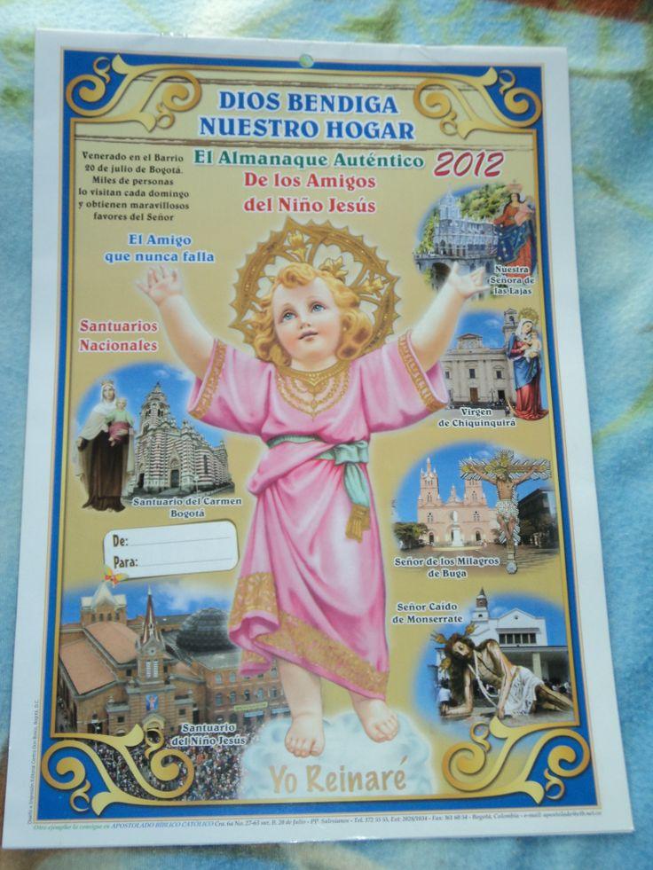 el primer Almanaque Biblico  de los amigos del Divino Niño Jesús año 2012