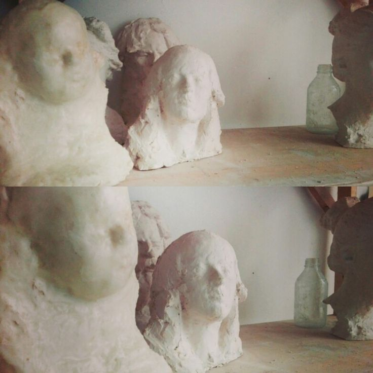 "From the shelf of our studio...portrait ""Young lady""...""Baby boy portrait"". Plaster, wax. #plaster #sketch #wax #impresion"