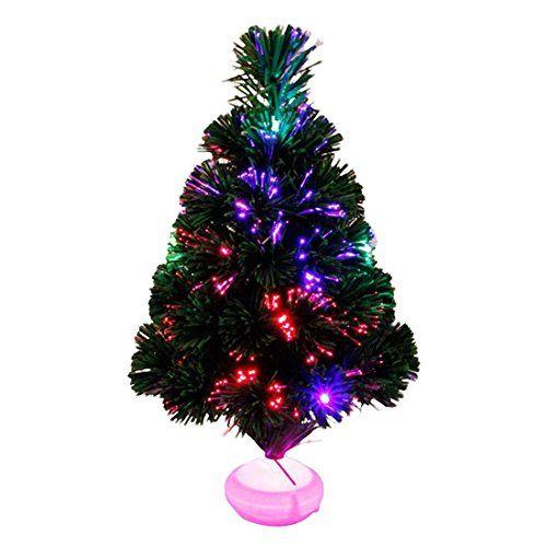 Seguryy 45cm Sapin de Noël artificiel lumineux en fibre optique + LED – livré dans son pot – Lumière à variation de couleurs: NOUVEAU : les…