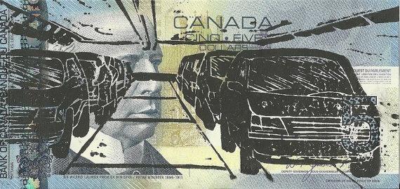 Assembly Line (Canadian Romantics Series) - Linocut Print - Patrick Bodnar    #art #banknote #linocut #printmaking #money #five #dollar #bill