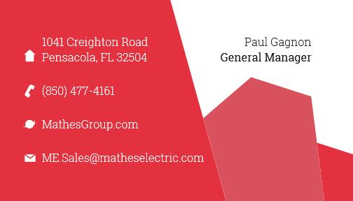 Business card for the Mathes Group electrical company identity project