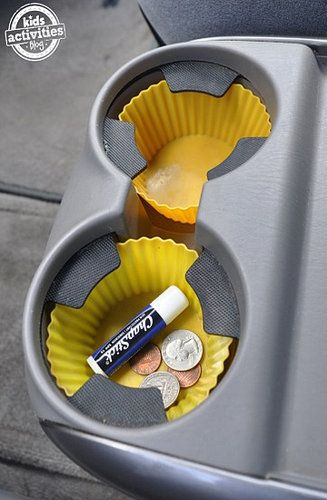 On the go Organizing tips for parents of littles! Good stuff in here - like putting silicone cupcake liners in cup holders for easy cleaning!