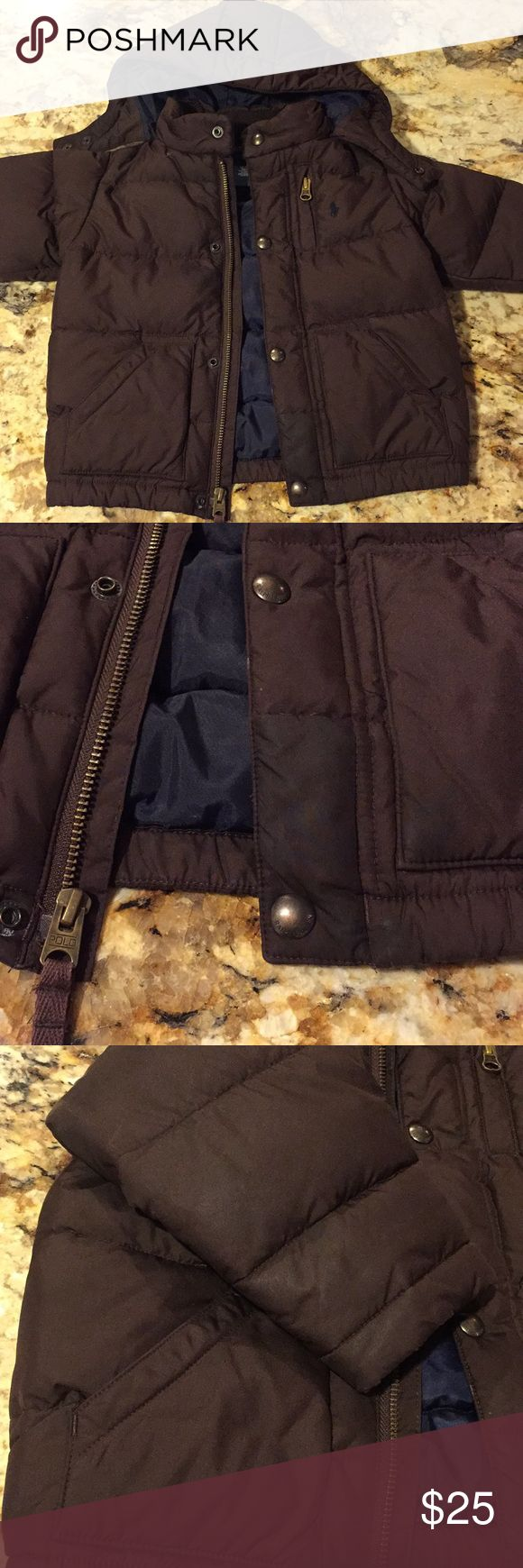 24 month old Polo jacket Used and worn with some stains, the hood is removable, zipper works fine also has buttons, has stains throughout. Polo by Ralph Lauren Jackets & Coats