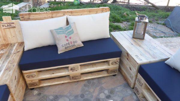 Coffee Bean Pillow Pallet Lounge Set / Divano Modulare Con Cuscini Lounges & Garden Sets Pallet Sofas