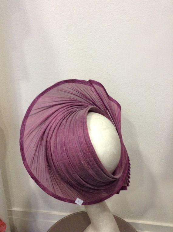 Bandeau parme violet en fibre de buntal, pour mariage ou cérémonie