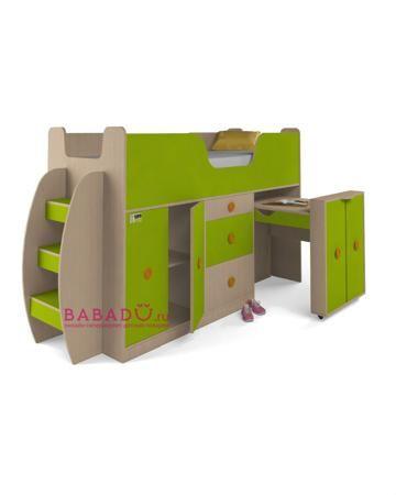 UFOkids 80x200 см со шкафом и столом Астро  — 17655р. ---------- Кровать-чердак 80x200 см со шкафом и столом Астро UFOkids - функциональное рабочее место для дошкольника или школьника. Есть шкаф с полками и письменный стол.