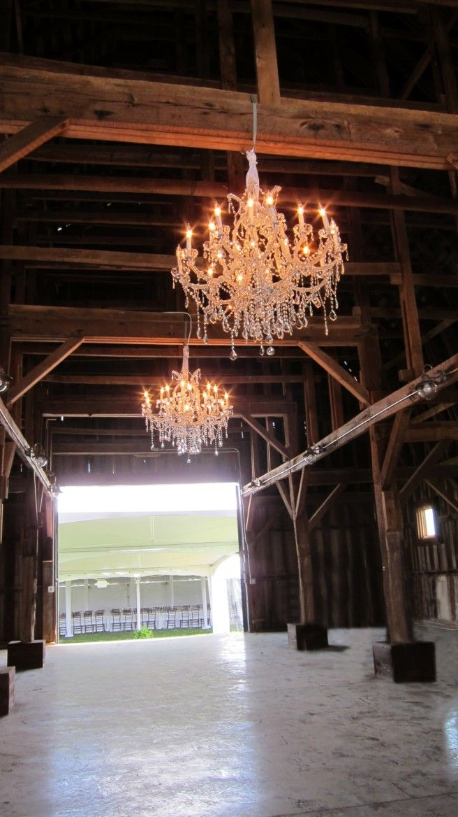 Now how cool is that to have crystal chandeliers in your barn!?!