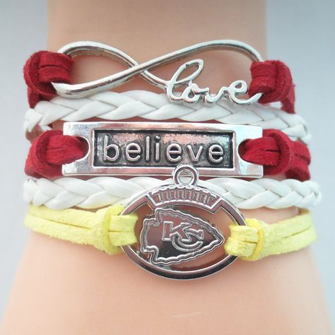 Infinity Love Kansas City Chiefs Football - Show off your teams colors! Cutest Love Kansas City Chiefs Bracelet on the Planet! Don't miss our Special Sales Event. Many teams available. www.DilyDalee.co