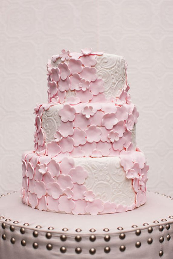 Cute Little Pink Cut-Out Flowers on White Damask Cake