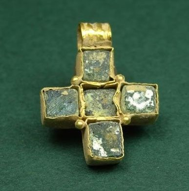 Byzantine gold and glass cross pendant, 400-600 AD. With four inset blue square…