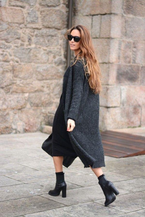 Серый кардиган: 10 стильных образов с длинной кофтой 2