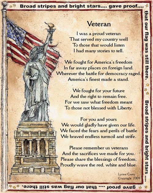 Free Veterans Day Poems | ... IDEAS-PRINTOUTS-PROJECTS-RESOURCES-QUOTES-BOOKS-POEMS FOR TEACHERS at