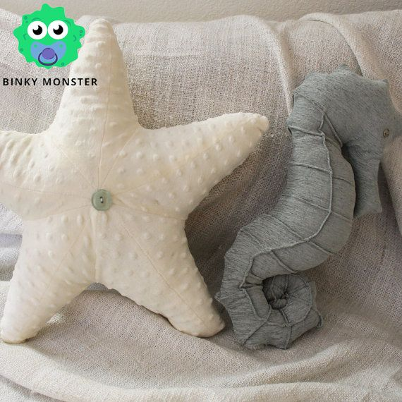 RYE!!!! Baby Nursery Pillows - Nautical Bedding Starfish Seahorse Under the Sea