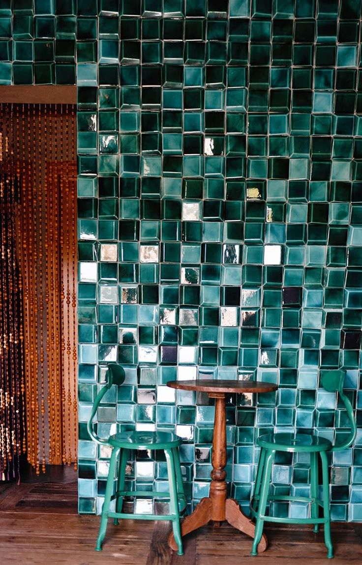 Douro tiles at Los Enamorados Hotel | Theia creative tiles – www.theiatiles.com | 100% Portuguese handmade ceramic tiles for surfaces and interior decoration design projects | Jade blue | Ceramics
