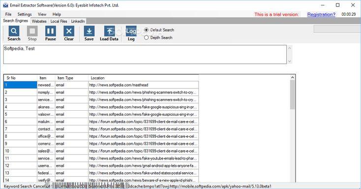 http://www.softpedia.com/get/Internet/E-mail/Mailinglist/Email-Extractor-Software.shtml