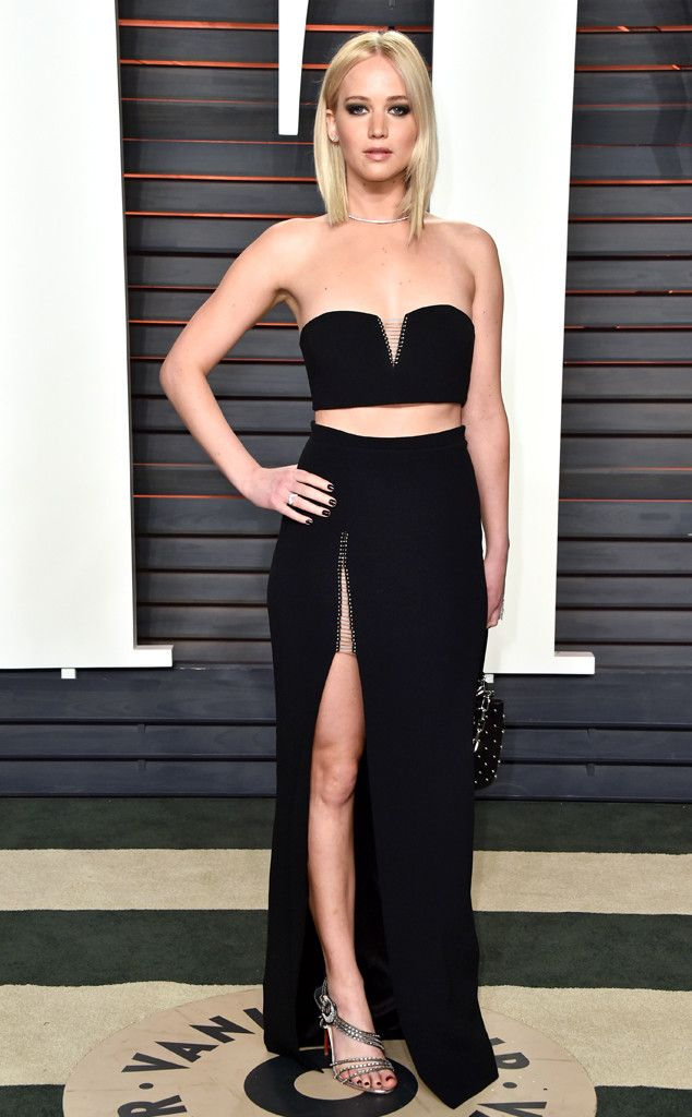 Jennifer Lawrence in Alexander Wang, Christian Louboutin shoes, Anita Ko jewels at the 2016 Vanity Fair Oscar Party on February 28, 2016