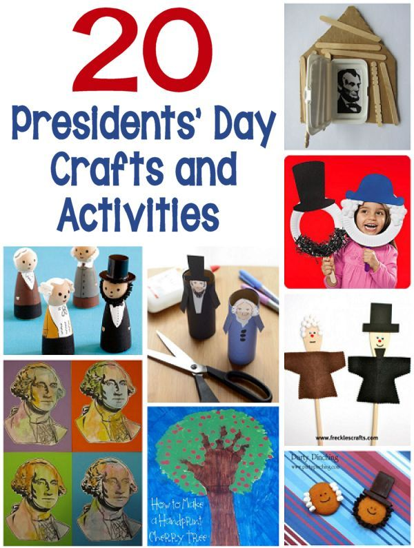 20 Presidents' Day Crafts and Activities - PLan on trying some of these fun crafts and activities in honor of President's Day. (http://aboutfamilycrafts.com/20-presidents-day-crafts-and-activities/)