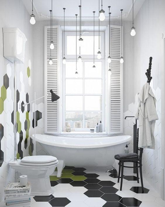 Lâmpadas suspensas deixam o banheiro com aspecto super moderno e de quebra ajudam a destacar o ambiente. Liindo!  #instadecor #instahome #casa #home #interiordesign #homedesign #homedecor #homesweethome #inspiration #inspiração #inspiring #decorating #decorar #decoracaodeinteriores #Mobly #MoblyBr #bathroom #iluminaçãosuspensa