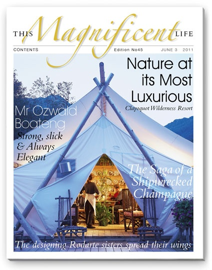 ThisMagnificentLife.com issue 45 cover - glamping at it's very best at Clayoquot Wilderness Resort.