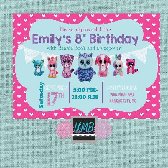 Invitación de Beanie Baby Boo cumpleaños 5 x por NMBdigitalDesigns
