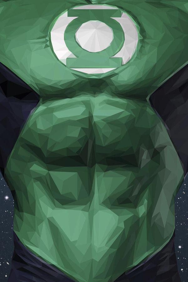 Illustrations of Superheroes & Video Game Characters Made of Triangular Shapes | Green Lantern