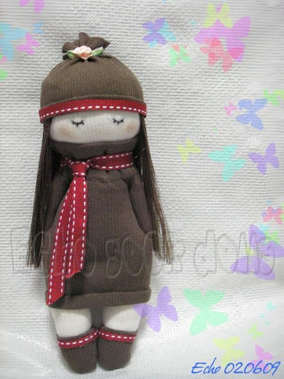 Sewing: Brown Dress Girl Sock Doll