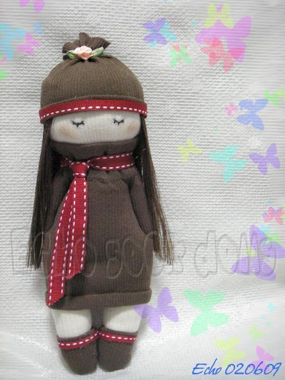 Sewing: Brown Dress Girl Sock Doll