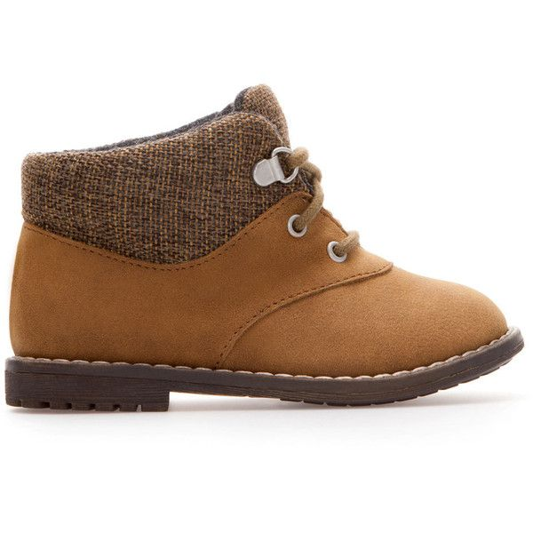 Zara Boot With Laces ($20) ❤ liked on Polyvore featuring baby boy, baby, baby clothes, baby shoes, kids and brown