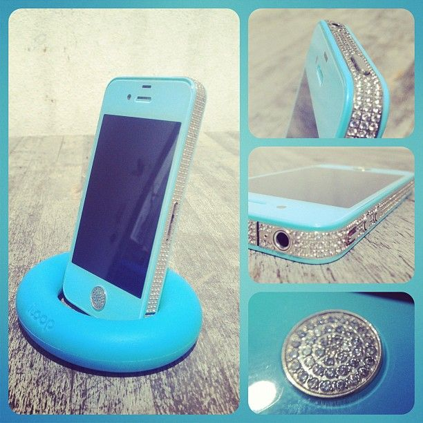 Baby Blue iPhone Conversion with Swarovski frame. totally get this