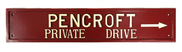 A chunky large farm house sign in burgundy red with ivory lettering. Lovely.