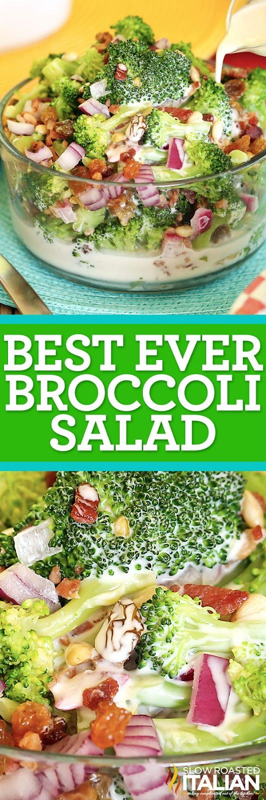 The Best Ever Broccoli Salad is a simple recipe combining broccoli, bacon, raisins, onion and nuts.  They come together in the most amazing summer salad yet.  The sweet and creamy dressing really makes this the perfect summer side that you won't be able to get enough of!