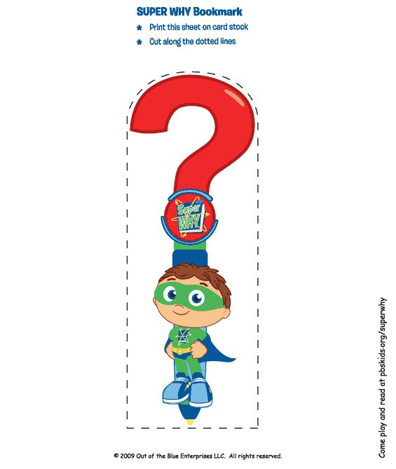 Super Why Birthday Party Favors: Bookmark . Birthday Party . PBS Parents