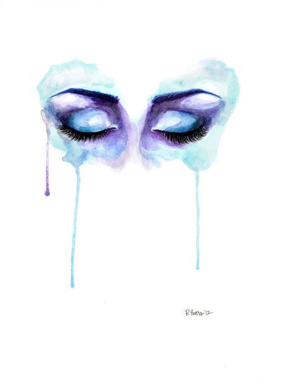 5x7 Eyes Shut Watercolor Drip Painting by artbyrobinewers on Etsy, $10.00