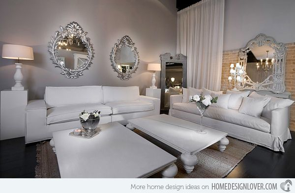 Luxury Ideas | he crisp white couches and the silver mirrors are pure glamour | www.bocadolobo.com | #luxuryideas #luxurydesign
