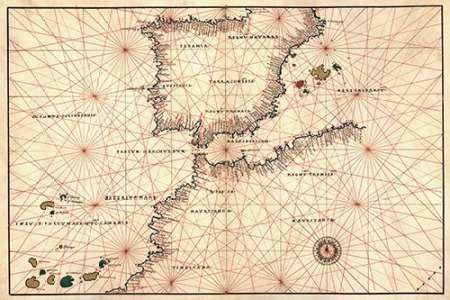 Portolan or Navigational Map of the Spain, Gibraltar and North Africa