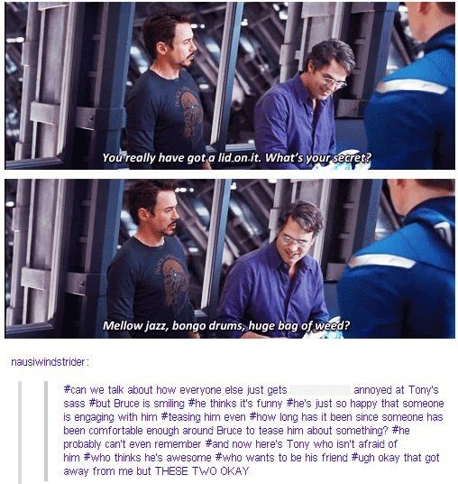 All the science Bros FEELS!!!!! <-- Tony is just looking at Bruce like, your my new best friend...you just don't know it yet