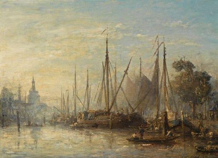 Johan Barthold Jongkind - Port de Rotterdam, au fond le Hoofdpoort (1856)