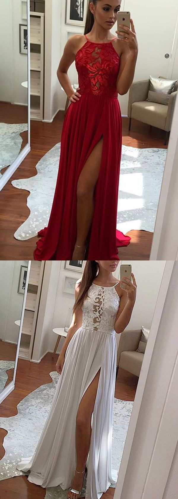 red halter prom dresses, backless long prom dresses, appliques semi formal dress with high slit