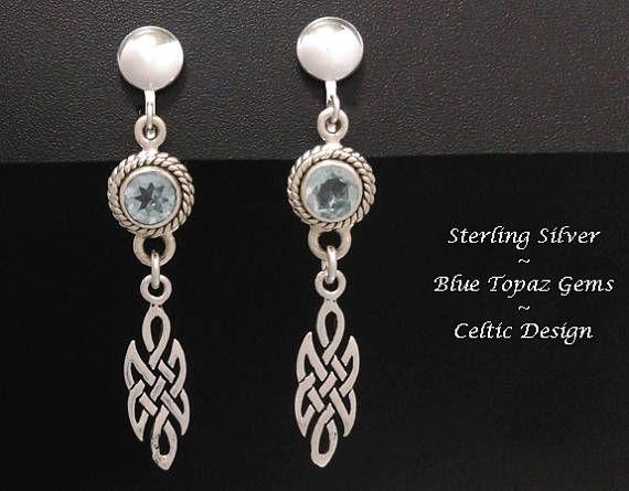 Clip On Earrings: BlueTopaz Gems set in Celtic Design 925 Sterling Silver Clip-On Earrings | Gemstone Earrings, Silver Clip On Earrings - found at https://www.etsy.com/shop/EarringsArtisan #cliponearrings #clipon #clip-onearrings #silvercliponearrings #clipons #earrings #jewelry #womensfashion #giftsforwomen