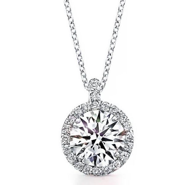 1.50 Carat Stunning Diamond Halo Micro Pave Pendant