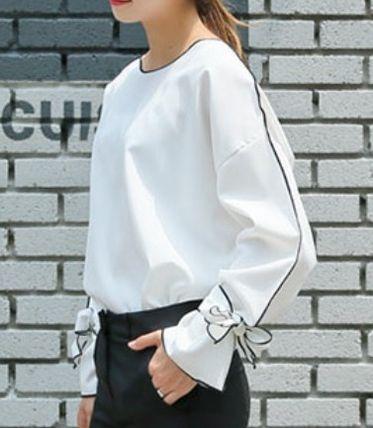 Tシャツ・カットソー リボンが可愛い♪バイカラー配色ラインのパフスリーブブラウス(2)