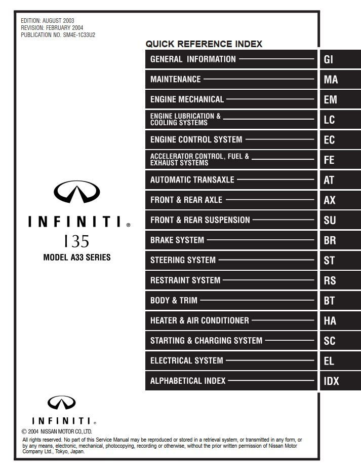 New Post Infiniti I35 Model A33 Series 2004 Service Manual Has Been Published On Procarmanuals Com Https Procarmanuals Com Infin Infiniti Manual Manual Car