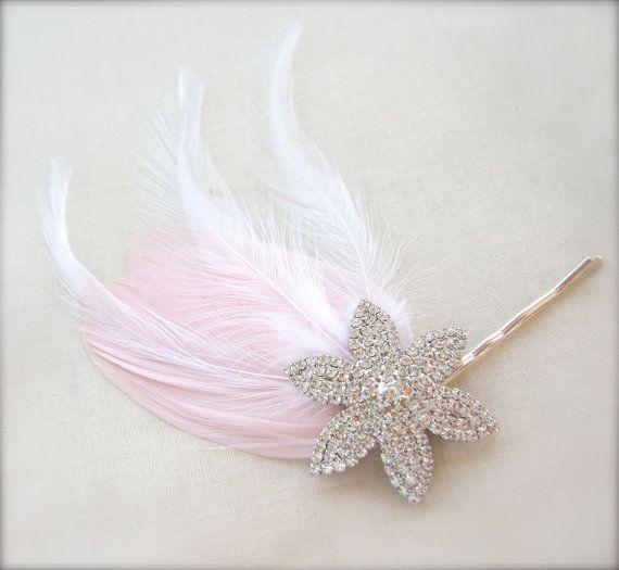 Blush Pink Bridal Feather Fascinator Rhinestone encrusted star flower hair pin blush pink wedding hair accessory by GracefullyGirly, $48.00
