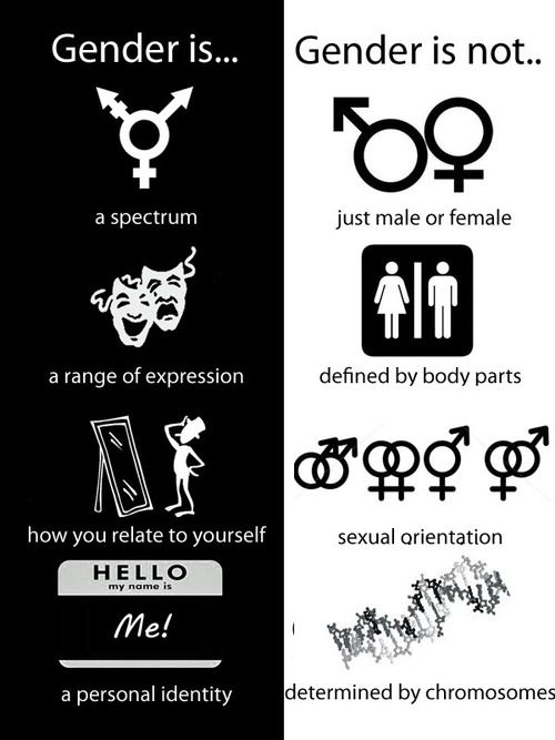 I chose to pin this picture because ti separates what gender is and what gender isn't. Based on societies views gender can be taken as the totally opposite definition that it is.